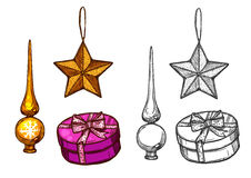 Choinka ornamenty, prezenty, wektorowy nakreślenie royalty ilustracja