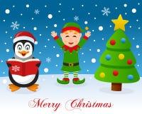 Choinka, pingwin & Śliczny Zielony elf, Obrazy Royalty Free