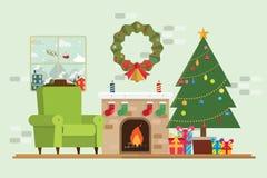 Choinka prezent Santa Claus w okno i dekoraci Fotografia Royalty Free