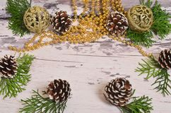 Choinka rożki z gałąź na backgrou i ornamenty obrazy stock