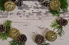 Choinka rożki z gałąź na backgrou i ornamenty zdjęcia stock
