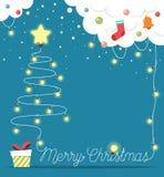 Choinka robić od bożonarodzeniowe światła z i odizolowywająca na błękitnym tle dekoracjami i prezenta pudełkiem również zwrócić c Obraz Stock