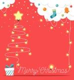 Choinka robić od bożonarodzeniowe światła z i odizolowywająca na czerwonym tle dekoracjami i prezenta pudełkiem również zwrócić c Obraz Stock