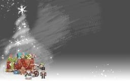 Choinka robić od gwiazd i barwiących prezentów (szary tło) Zdjęcie Stock