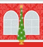 Choinka w Czerwonym Adamaszkowym pokoju Z Palladian Windows royalty ilustracja