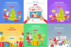 Choinka wystrój tła bożych narodzeń sprzedaży Santa bałwanu xmas Santa teraźniejszość ilustracja wektor