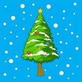 Choinka z śnieżnymi tło dla Christmas dnia royalty ilustracja