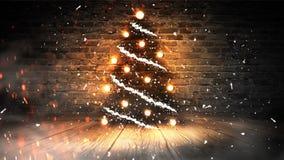 Choinka z światłami na drewnianej podłodze, zaświeca, światła, światła, świecenie, dym fotografia stock