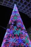 Choinka z barwionymi światłami, Seville, Andalusia, Hiszpania Zdjęcia Stock