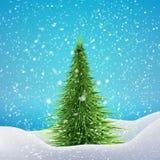 Choinka z opadem śniegu i dryfami wektor Obrazy Stock