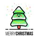 Choinka z ornamentami i śniegiem Xmas dekoracje Płaski kreskowego stylu wektorowy wesoło kartka z pozdrowieniami Nowy rok świątec Zdjęcie Stock