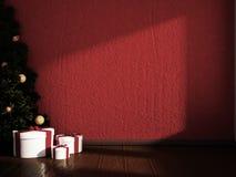 Choinka z prezentami w pokoju, 3d Fotografia Royalty Free