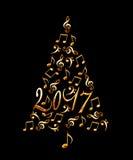 2017 choinka z złotego metalu muzykalnymi notatkami odizolowywać na czerni Zdjęcie Royalty Free