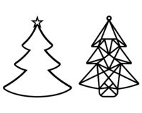 Choinki cięcie z papieru Szablon dla kartek bożonarodzeniowa, zaproszenia dla przyjęcia gwiazdkowego stosowny dla laseru royalty ilustracja