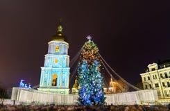 Choinki i świętego Sophia katedra, UNESCO światowego dziedzictwa miejsce w Kijów, Ukraina obraz stock