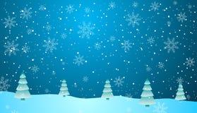 Choinki, lód i śnieg, ilustracja wektor