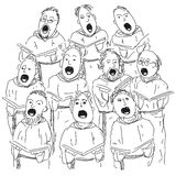 Choir. Illustration of people singing in choir Stock Photo
