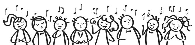 Choir, banner, funny men and women singing, black and white stick figures sing a song Royalty Free Stock Image