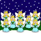 Choir of Carolling Angels Stock Images