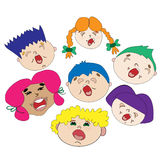 Choir of cheerful children. Boys and girls sing songs. colored hair. Choir singer. The choir of boys and girls. School Ensemble. Singing at the festival. Funny Stock Photos