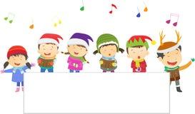 Choir of children with blank sign. Vector illustration of Choir of children with blank sign isolated on white stock illustration