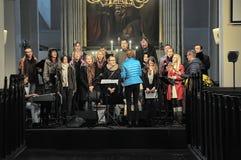 Choir in the church. Rehearsal of the choir in the church of St. Olaf, Tallinn, Estonia Stock Photography
