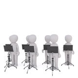 Choir of 3d toons with music stands. Choir of 3d toon figures stood with music stands, white background Royalty Free Stock Photos