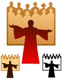 Choir emblem. Graphic emblem of a choir, with flat and black only versions Stock Photography
