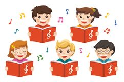 Choir girls and boys singing a song. stock illustration