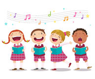 Choir girls and boys singing a song vector illustration