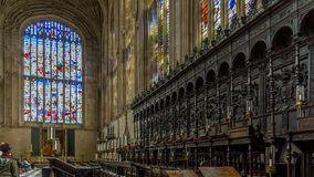 The Choir inside King`s College Chapel, Cambridge, Cambridgeshire. Cambridge, England - April 17, 2016 : The Choir inside King`s College Chapel, Cambridge Stock Photos