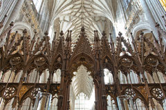 The choir inside Winchester Cathedral, UK. WINCHESTER, UK - FEBRUARY 07: The choir with its wooden carvings facing west inside Winchester Cathedral. February 07 Royalty Free Stock Photos