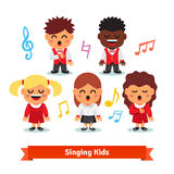 Choir of kids singing. Boys and girls stock illustration