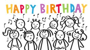 Choir, men and women singing HAPPY BIRTHDAY, black and white stick figures with colorful letters Royalty Free Stock Images