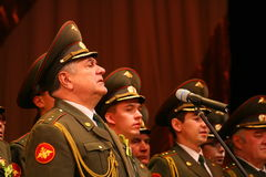Choir of the Russian army. Performance under the baton of choral singers and soloists  of the military song and dance ensemble of the North-Western military Royalty Free Stock Photos
