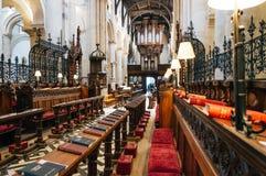 Choir seats in a church Stock Photos