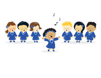 Choir singing. Kids of different nationalities singing in a choir Royalty Free Stock Photos