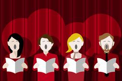 Choir singing against a stage curtain Vector Illustration