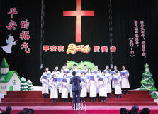 The choir singing hymns. Many christians happily spend christmas eve at church, amoy city, china. they are orderly Royalty Free Stock Photos