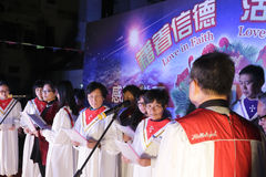 The choir singing at night Stock Images