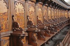 Choir sitting. The old choir inside the carthusian of padula in italy royalty free stock images