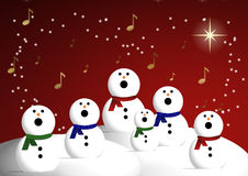 Choir of snowmen. Illustration of snowmen singing in choir under starry red night sky vector illustration