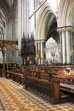 Choir stalls in chancel of Worcester Cathedral, England Stock Image
