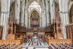 Choir stalls in a church stock photos