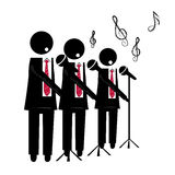 Choir. Three black silhouettes of a choir with microphone singing to the background Royalty Free Stock Images