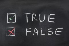 Choise between True and False stock photos