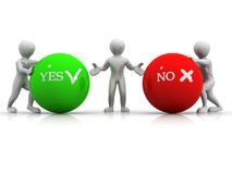 Choise YES or NO. 3d Very beautiful three-dimensional illustration Stock Image