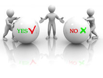 Choise YES or NO. 3d Royalty Free Stock Photos