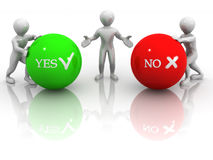 Choise YES or NO. 3d Very beautiful three-dimensional illustration Royalty Free Stock Photo
