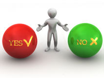 Choise YES or NO. 3d Very beautiful three-dimensional illustration Stock Photography